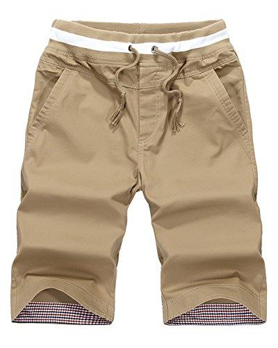 Minetom Hombres Gimnasio Culturismo Rutina de Ejercicio Men Pantalones Cortos Algodón Caqui EU M