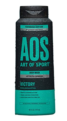 Art of Sport Activated Charcoal Body Wash for Men - Victory Scent - Cool Eucalyptus Fragrance - Natural Botanicals Tea Tree Oil and Aloe Vera - Intensely Moisturizing - Sulfate Free - 16 fl oz