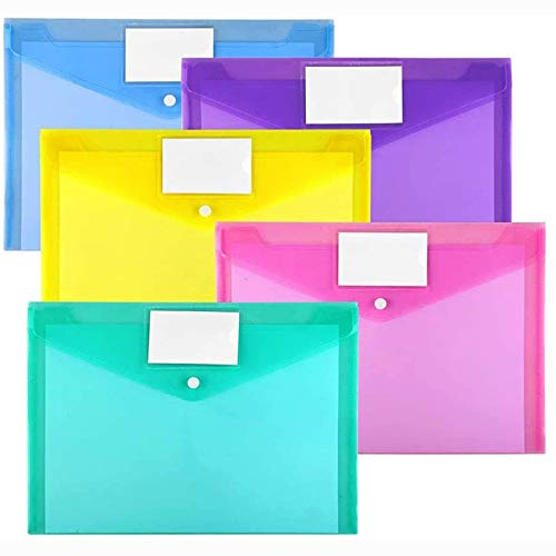 10 Pack Plastic Envelopes Poly Envelopes, Sooez Clear Document Folders US Letter A4 Size File Envelopes with Label Pocket & Snap Button for Home Work Office Organization, Assorted Color