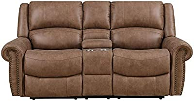 Pemberly Row Dual Reclining Loveseat with Storage in Mahogany