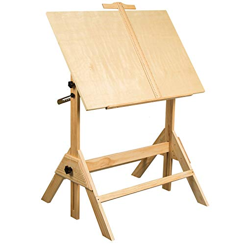 MEEDEN Solid Wood Drafting Table, Drawing Desk, Craft Table with Adjustable Height and Tiltable...