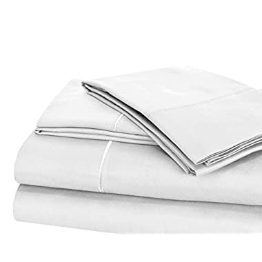 CHATEAU HOME COLLECTION Luxury 100% Pima Cotton 500 Thread Count Ultra Soft Solid Sheet Set, Lowest Prices - Mega Sale, Queen - White