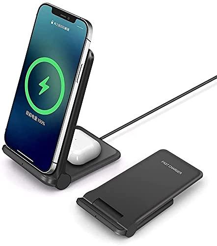 20W Rapide Chargeur à Induction FDGAO 2 en 1 Chargeur sans Fil Pliable Station de Chargeurs Compatible avec iPhone 12 Pro /12/11Pro/XS/XR/X/8/Air pods Pro/2;Samsung Galaxy S21 /S20 /S10/S9/S8/S7/Buds