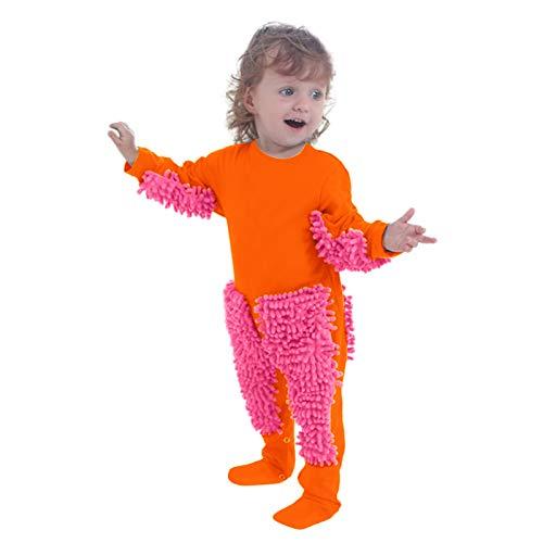 Baby Mopp Strampler Outfit Kleinkind, Neugeborenes Säugling Baby Girls Boys Krabbeln Baby Solider Mopp Onesie Romper Jumpsuit, Wischmop wischen Boden Strampler Overall Jumpsuit 18-24 Monate