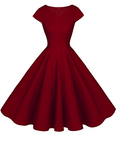 FAIRY COUPLE Vintage Rockabilly Cap Sleeves Prom Dress M Burgundy