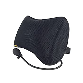 Tcare - Coussins gonflables Soutien Lombaire pour Voiture Chaise de Bureau à Domicile Oreiller portatif avec Pompe Noir oreillers Amovibles en Maille de Massage (Noir)