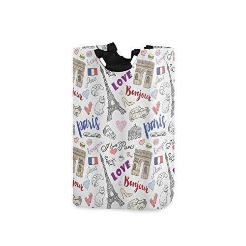 LOSNINA Wäschesammler Wäschekorb Faltbarer Aufbewahrungskorb,Triumph Arch Fashion Items Schuhe Handschuhe Traditionelles Essen Käse Brot Schlüssel Katze Bild,Wäschesack - Wäschekörbe