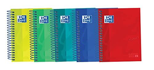 Oxford, Cuadernos 8º, Pack de 5 Libretas de Tapa Extradura, 120 Hojas con Cuadrícula 5x5, 4 Colores Banda, Colores Surtidos, Formato A6, 117 x 150 mm