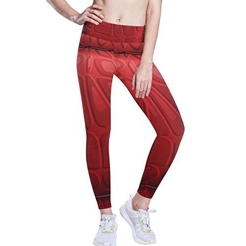 DEZIRO hoge taille yoga broek rood leer kussen textuur yoga broek met Tummy controle, 4 manieren stretchtraining hardlopen yoga legging