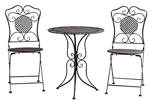 aubaho Salon de Jardin - 1 Table et 2 chaises - métal - Style Antique - Marron