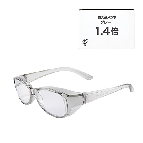 日本光材 日本製 拡大鏡メガネ 眼鏡型 ルーペ 倍率交換保証書 オリジナル袋兼用めがね拭き付(グレー 1.4倍)