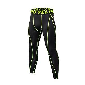 Lanbaosi スポーツタイツ メンズ コンプレッション ロングスパッツ UVカット 吸汗速乾 ストレッチ トレーニング アンダーパンツ 冷感 作業インナーウェア グリーン1# L