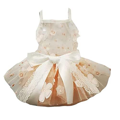 PRJEDLK Prajedlk Vestido de Novia de Princesa para Mascotas con Flores de Color Naranja Claro, Vestido Mullido de Verano, Perro pequeño, Peluche, Gatos Pomerania (Size : XX-Large)