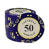 HongTong Poker Chip Set Poker Metal Coin Dollar Las Vegas Chips Poker Club Accesorios 50 Piezas/lotes (Size : 50)