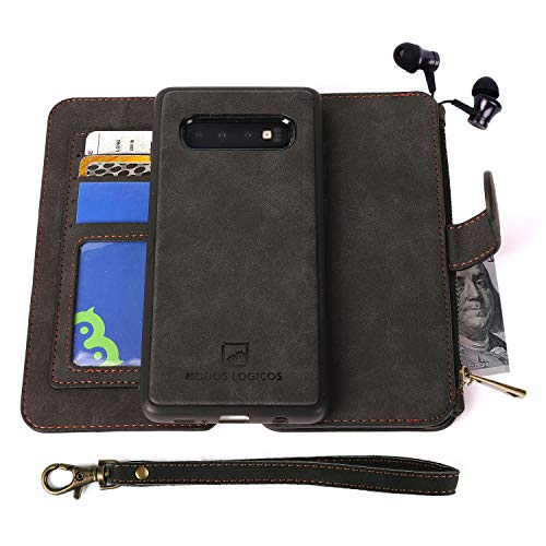 MODOS LOGICOS for Samsung Galaxy S10 Plus Case, [Detachable Wallet Folio][2 in 1][Zipper Cash Storage][14 Card Slots 1 Photo Window] PU Leather Purse with Removable Inner Magnetic TPU Case - Black