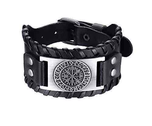 PJ JEWELLERY Wikinger-Armband Nordisches Vegvisir-Armband Nordisches Armband mit Runen-Kompass-Lederarmband Keltischer heidnischer Schmuck aus Talisman für Herren