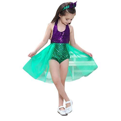 thematys Vestido de Princesa con Cinta para el Pelo 2 Piezas - Disfraz para niños Carnaval y Cosplay (100cm-110cm, Verde)
