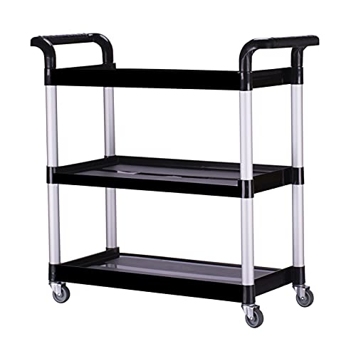 CARCC Rolling Cart Heavy Duty 3 Shelf Rolling Utility, For Food Service, Restaurant, And Cleaning