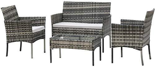 MissZZ Juego de Muebles de jardín de ratán Gris, Mesa de Patio de 4 plazas y sillas, sofá, sillón y Mesa de Centro con cojín de Asiento, Muebles de Invernadero de Tejido de Mimbre, Exterior (Gris 4