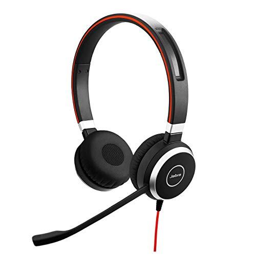 Jabra Evolve 40 MS – Auriculares Estéreo Certificados para Microsoft Teams para VoIP Softphone – Cancelación Pasiva de Ruido – Cable USB-C con Unidad de Control – negro