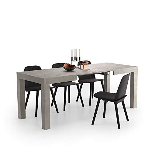 Mobili Fiver, Mesa de Cocina Extensible, Modelo First, Color Cemento, 120 x 80 x 76 cm, Made in Italy