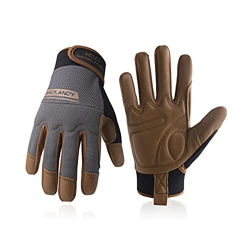 Leather Work Gloves for Men & Women, Utility Safety Work Gloves, Mechanic Driver Gardening Gloves with Cowhide Palm (L, Brown)