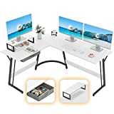 CubiCubi Modern L-Shaped Desk Computer Corner Desk, 59.1' Home Office Writing Study Workstation with Small Table, Space Saving, Easy to Assemble, White