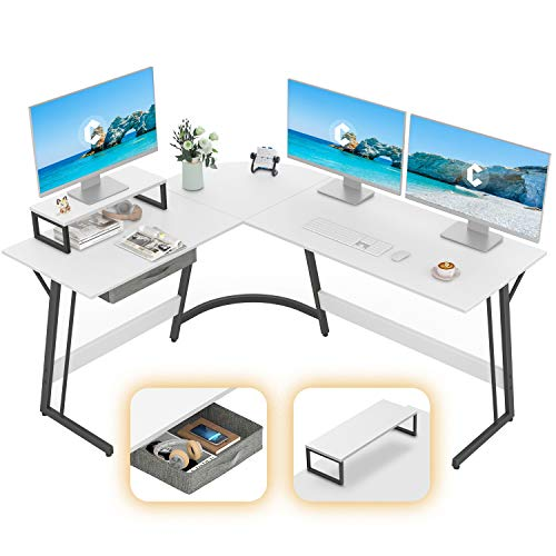 """CubiCubi Modern L-Shaped Desk Computer Corner Desk, 59.1"""" Home Office Writing Study Workstation with Small Table, Space Saving, Easy to Assemble, White"""