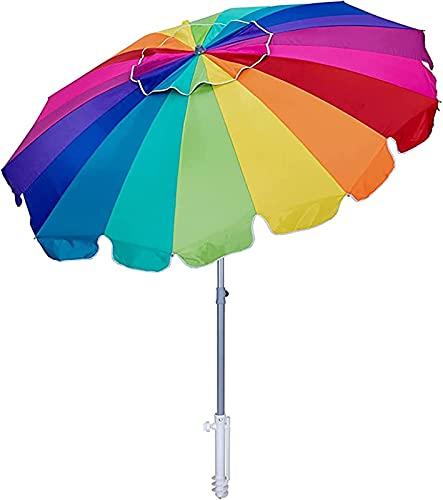 Z-DYQ Sombrilla 8FT Playa Paraguas, Patio Cantilever Umbrella Poliéster Sombrilla Sombrilla con Ancla de Arena Inclinación Tilt Sun Shelter para Mesas de Comedor Backyards Gardens Balconte Cafés