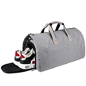 Arkmiido Bolsa Portatrajes, Bolsa de Viaje con Compartimento para Zapatos, Bolsa Deporte de Plegable para la Prevención de Arrugas, 55L, Gris.