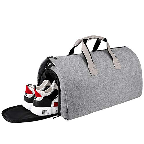 Arkmiido Suit Bag, Travel Garment Duffle with Shoes Compartment, Collapsible Wrinkle Prevention Overnight Weekend Suit Carrier Bag, 55L, Gray.