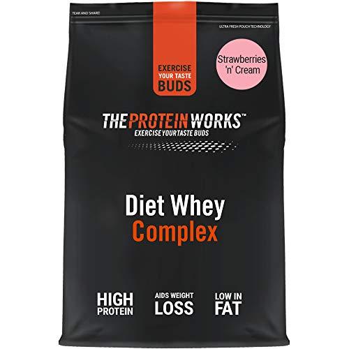 THE PROTEIN WORKS Diet Whey Complex para Perder Peso, Batido de Proteína Whey Dietético, Fresas con Nata, 500 Gramos