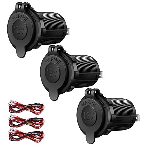 ZHSMS 3 Pack Car Cigarette Lighter Socket, 12V Waterproof Marine Boat Motorcycle Power Outlet Receptacle, for Boat Truck Scooter ATV RV