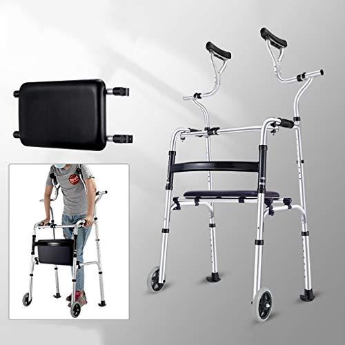 Faltbare Gehhilfe Walker Rahmen for Senioren, Wandermobilitätshilfe mit Unterarmstütze und Sitz, Rollator, Lower Limb Trainer, Last 396.8lbs / 180kg