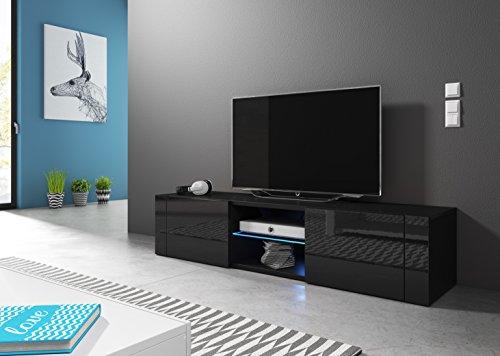 Wohnideebilder Sideboard Lowboard TV Fernsehschrank HIT 140 cm Kommode inkl LED Highboard NEU (Korpus matt schwarz/Front schwarz Hochglanz)