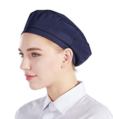 Nanxson 3Pcs Unisex Chef Hat Adjustable Elastic Baker Kitchen Cooking Chef Cap CF9043 (Navy, 3)