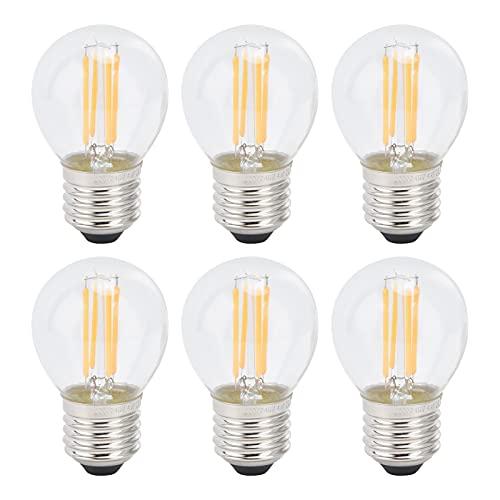 6Pcs Lampadina a LED Lampadine a Filamento Dimmerabili Trasparenti G45 E27 Base Standard per Lampade da Tavolo Lampadario Luce Calda 4W 220V 360LM Luce Calda