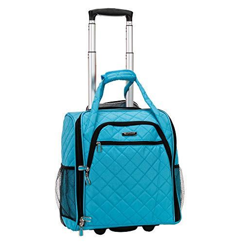 Rockland Melrose Upright Wheeled Underseater Carry-On Luggage, Turquoise, 16-Inch