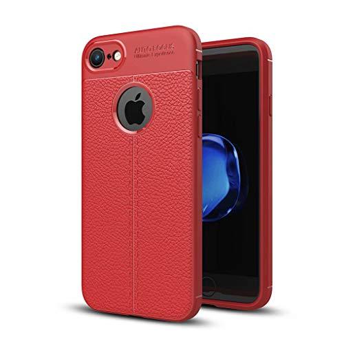 NiaCoCo Kompatibel mit iPhone 7/iPhone 8 Hülle Hauttextur Weiches TPU Dünn Handyhülle Rutschfester Anti-Fingerabdruck Erdbebenresistenz Anti-Fall Telefonkasten+1*(Gratis Handyhalter)-Rot