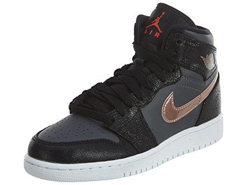 Nike Herren Air Jordan 1 Retro high bg Basketballschuhe, Black Black Schwarz Rot MTLC Bronze Dunkelgrau Weiß, 38.5 EU