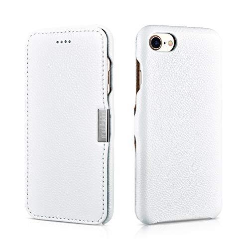 Mobiskin Hülle kompatibel mit Apple iPhone 8 & iPhone 7 (4.7 Zoll), Handyhülle mit echtem Leder, Case, Schutzhülle, dünne Handy-Tasche, Slim Cover, Weiß