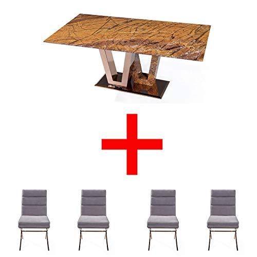SHINE MOUNT Mesa de comedor rectangular de mármol con pie de pedestal en V y 4 sillas cómodas blancas