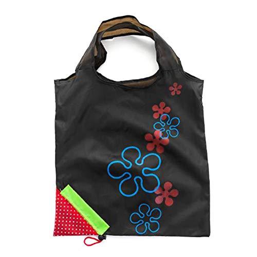 Macabolo Aardbeien opvouwbare boodschappentas, groenten, fruit, opbergtas, handtas, herbruikbare vouwen, grote tas zwart