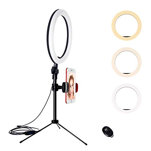 YMCRLUX Desk Ring Light with Stand and Phone Holder,10 Inch Desktop Light Halo for Webcam, Zoom Meetings, Video Conferencing, Video Recording, TIK Tok, Live Streaming, Vlog, Camera, Makeup
