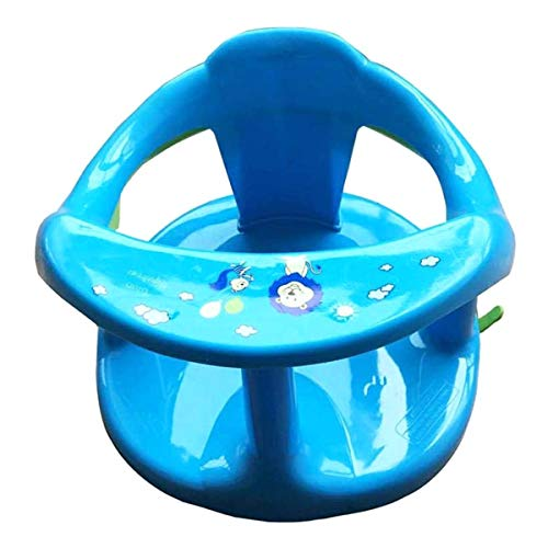 OIUT Baby Bathtub Seat for Sit-Up Bathing, Newborn Baby Shower Chair with Backrest Support and Suction Cups, Non-Slip Double-Layer Support Ring Bathroom Tool for Children Blue