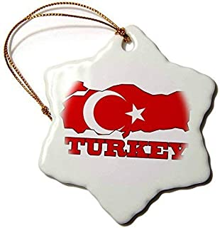 FashionShine The Flag Turkey in The Outline Map Name The Country Turkey Porcelain Snowflake Decorative Christmas Ornament 3 inch