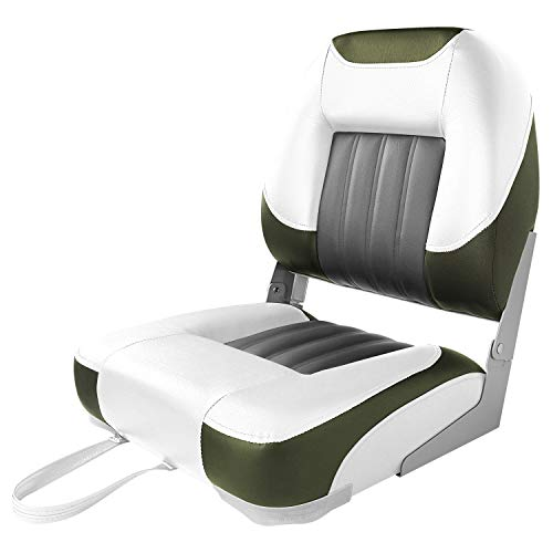 XGEAR Low Back Boat Seat, Fold-Down Fishing Boat Seat (White/Grey/Green)