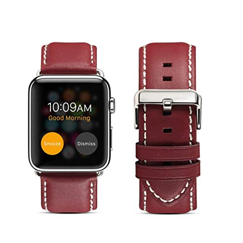 DaGeLon Compatibel met Apple Watch Echt Lederen Band 38mm 40mm 42mm 44mm Series 5 Series 4 Series 3 2 1, Luxe Stijlvolle Band Exquisite Duurzame Vervangende Polsband voor iWatch Sport Edition