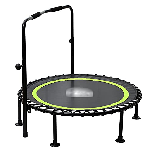 LKZL Silent Mini Trampoline Fitness Rebounder, Indoor Small Gym Trampolines with Adjustable Armrest, Bungee Rope Design System, The Best Choice for Aerobic Exercise, Bearing 600lbs (Color : Green)