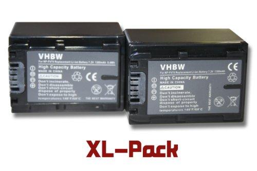 2 x vhbw Set baterías 1300mAh para videocámara Sony Handycam NEX-VG30EH, NEX-VG900,...